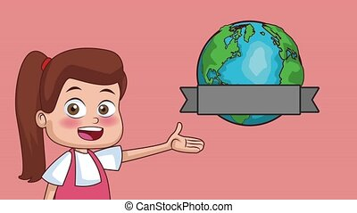 School and kids HD animation - Beautiful girl showing earth...