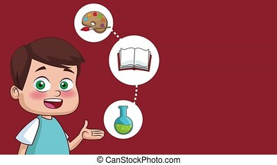 School and kids HD animation - Cute boy with education...