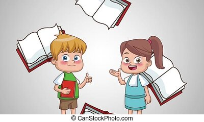 School and kids HD animation - Cute school boy and girl with...