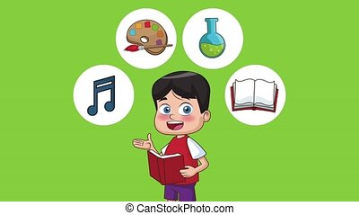 School and kids HD animation - School boy with books and...