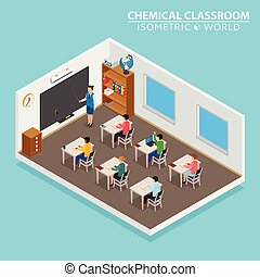 School and learning isometric concept with teacher and children on blue background vector illustration