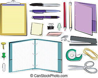 School and Office Supplies - Office/school supplies on a ...