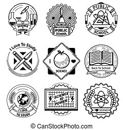 School and science vintage badges set