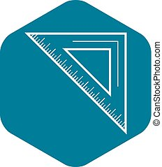 School angle ruler icon, outline style