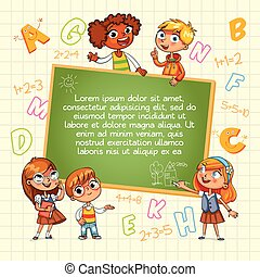 school., apontar, costas, modelo, em branco, criança