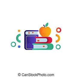 school, appel, boekjes , illustratie, concept, vector, stapel, achtergrond, toebehoren, witte , opleiding