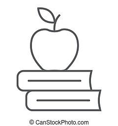 school, appel, boekjes , mager, pictogram, lijn
