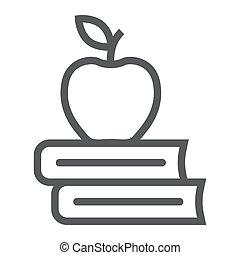 school, appel, boekjes , pictogram, lijn, opleiding
