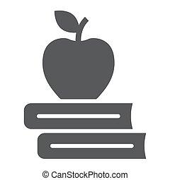 school, appel, boekjes , pictogram, opleiding, glyph