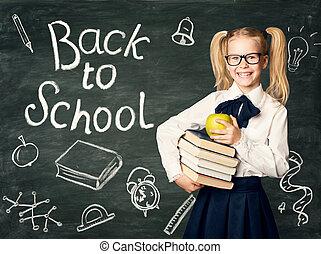 school, appel, bord, back, krijt, achtergrond, boekjes , black , werkjes, holdingskind, chalkboard, vrolijke , meisje, bril