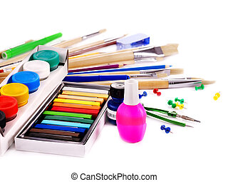 School art supplies.  Isolated.