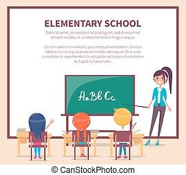 school., asseoir, bureau, élémentaire, leçon, enfants