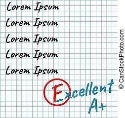 School assessment in notebook. Revised Grade. Flat vector ...