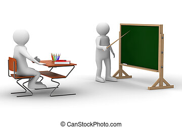 school., avbild, isolerat, lektion, vit, 3