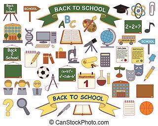 school, back, iconen