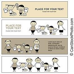 school, back, jouw, ontwerp, ouders, banieren, kinderen