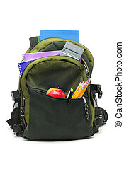 School Back Pack - backpack with school supplies white...
