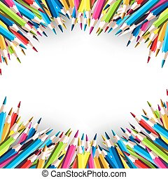 School background with colorful pencils