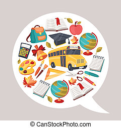 School background with education icons and symbols.