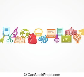School background with icons