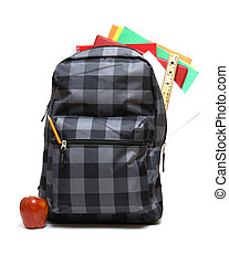 School Backpack - A backpack full of school supplies ready...