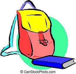 School backpack and book. Cartoon
