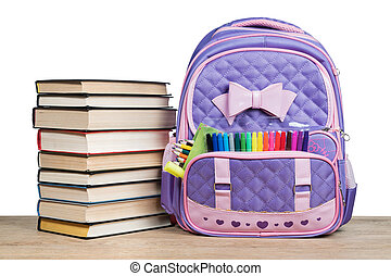 School backpack and books - School backpack with office...
