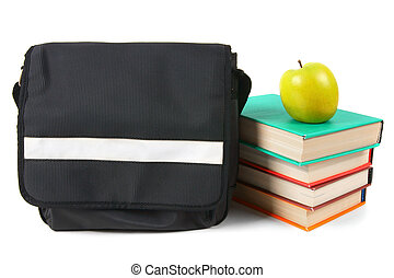 School backpack, books and an apple.