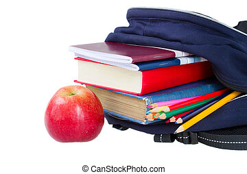 school backpack full of stationery isolated on white ...