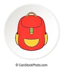 School backpack icon, cartoon style