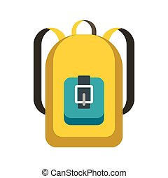 School backpack icon, flat style