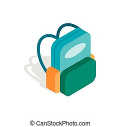 School backpack icon, isometric 3d style