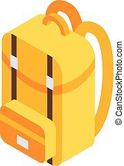 School backpack icon, isometric style