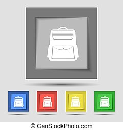 School Backpack icon sign on original five colored buttons. Vector