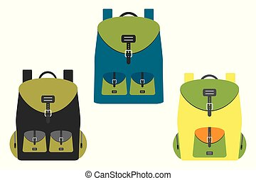 School backpack in a flat style,isolated on white background