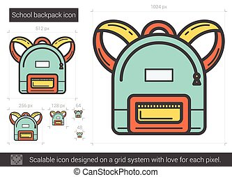 School backpack line icon.