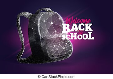 School backpack low poly art illustration.Back to school...