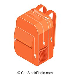 School Backpack. Orange backpack for schoolchildren, students, travellers and tourists.
