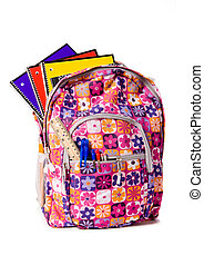 School Backpack Overflowing with supplies