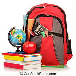 School Backpack with school supplies isolated on white