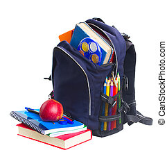 school backpack with stationery - blue school backpack full...