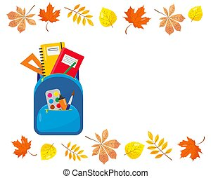 School backpack with supplies and autumn leaves.