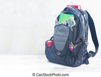 School backpack with supplies