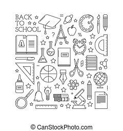 School badges. A set of simple symbols.