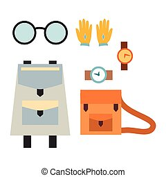 School bag and accessory vector illustration.