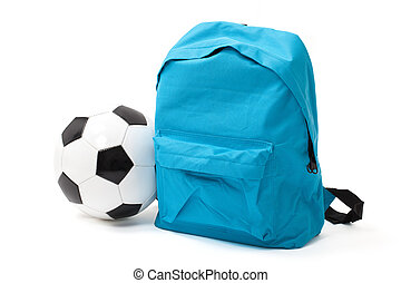 School Bag and Ball with Clipping Path