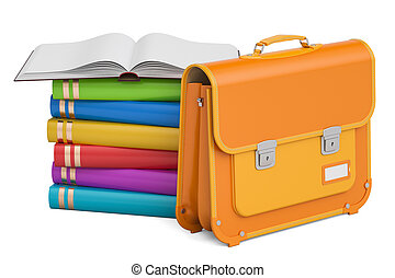 School bag, briefcase with books. 3D rendering