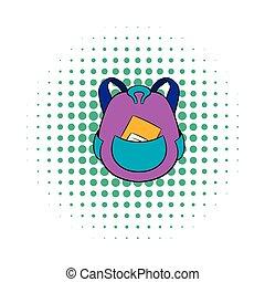 School bag icon in comics style