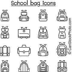 School bag icon set in thin line style