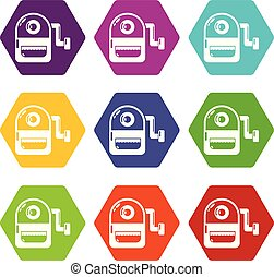 School bag icons set 9 vector